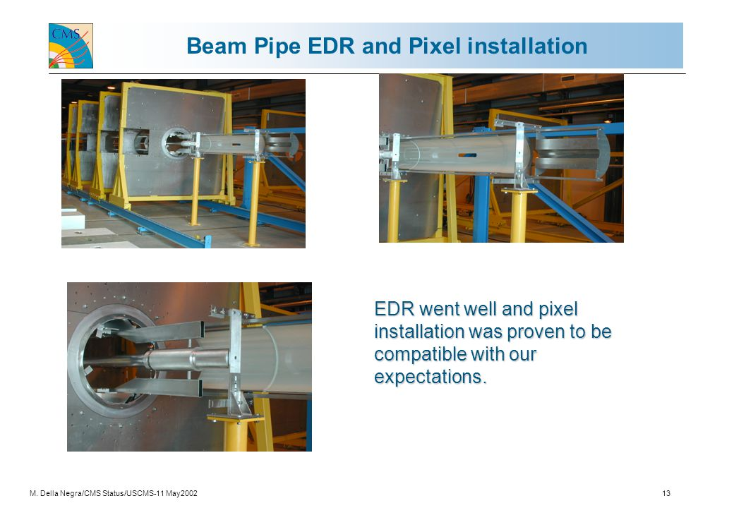 M. Della Negra/CMS Status/USCMS-11 May200213 Beam Pipe EDR and Pixel installation EDR went well and pixel installation was proven to be compatible wit