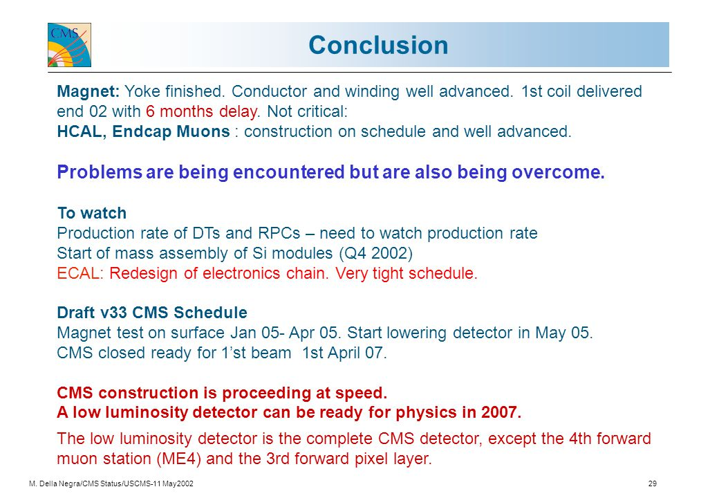 M. Della Negra/CMS Status/USCMS-11 May200229 Conclusion Magnet: Yoke finished.