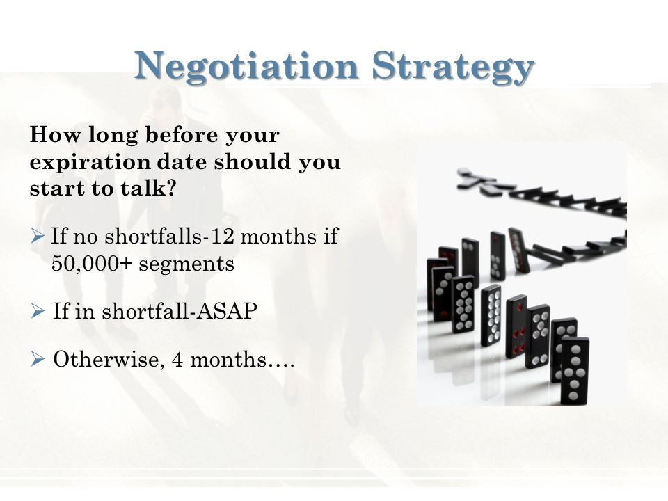 Negotiation Strategy How long before your expiration date should you start to talk.