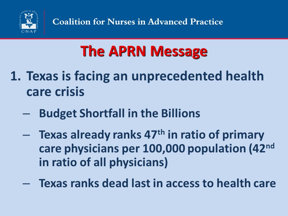 The APRN Message 1.Texas is facing an unprecedented health care crisis – Budget Shortfall in the Billions – Texas already ranks 47 th in ratio of prim