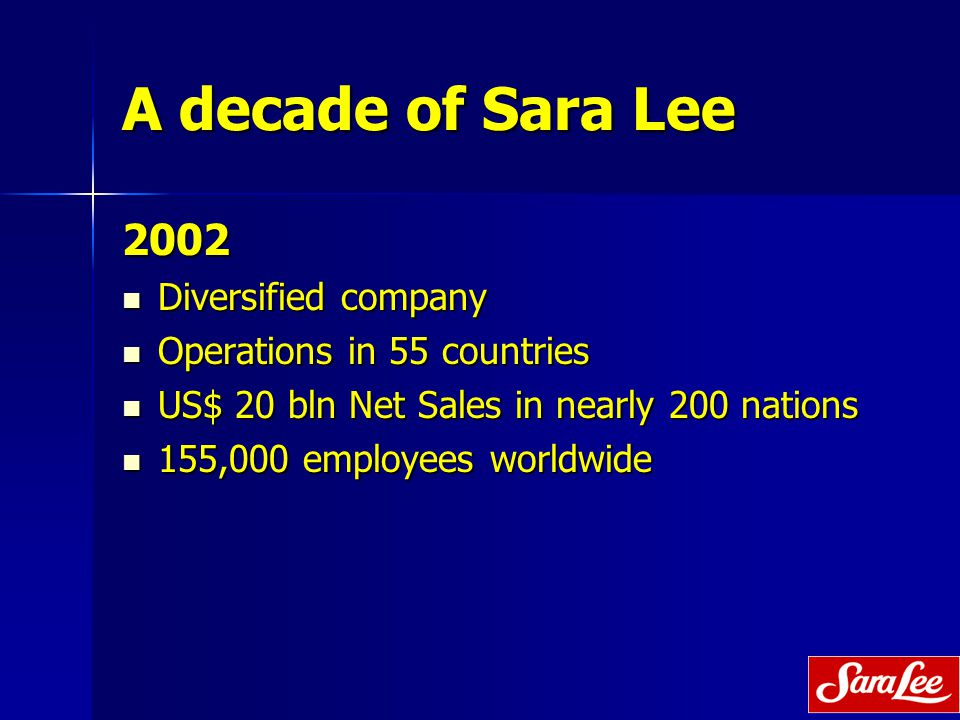 A decade of Sara Lee 2002 Diversified company Diversified company Operations in 55 countries Operations in 55 countries US$ 20 bln Net Sales in nearly 200 nations US$ 20 bln Net Sales in nearly 200 nations 155,000 employees worldwide 155,000 employees worldwide