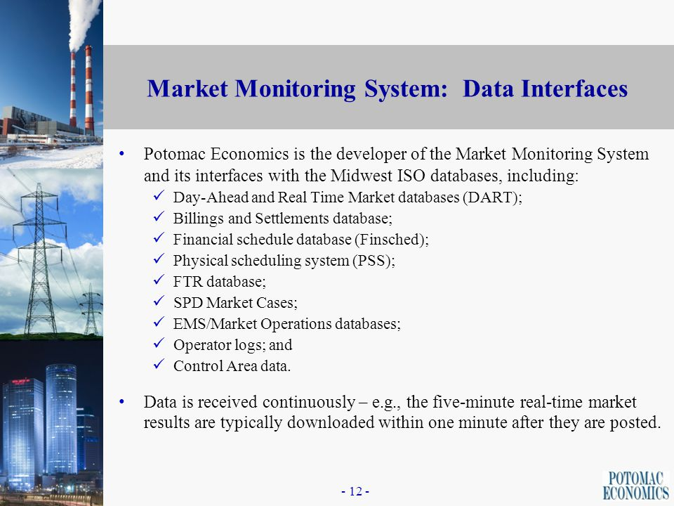 - 11 - Market Monitoring Software System The software needed to perform the monitoring and mitigation functions are embodied in the Market Monitoring System.