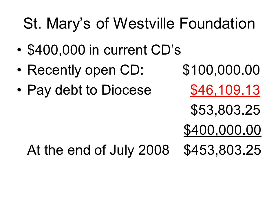 St. Mary's of Westville Foundation $400,000 in current CD's Recently open CD: $100,000.00 Pay debt to Diocese $46,109.13 $53,803.25 $400,000.00 At the