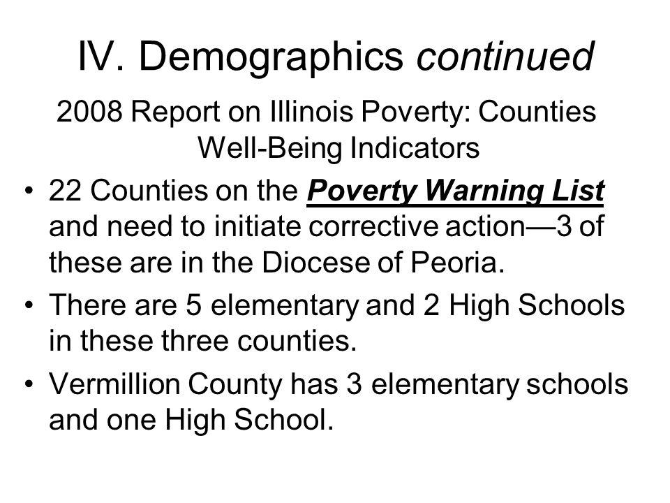 IV. Demographics continued 2008 Report on Illinois Poverty: Counties Well-Being Indicators 22 Counties on the Poverty Warning List and need to initiat