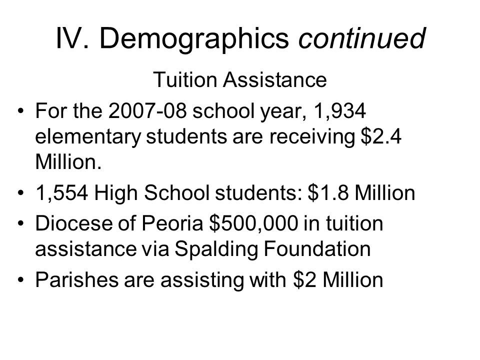 IV. Demographics continued Tuition Assistance For the 2007-08 school year, 1,934 elementary students are receiving $2.4 Million. 1,554 High School stu