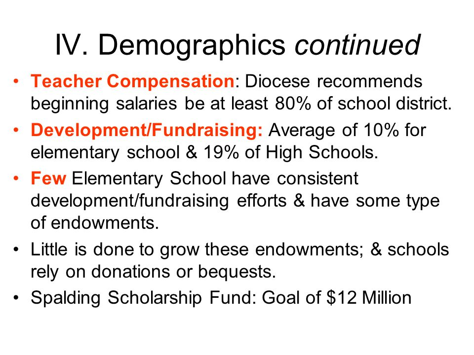 IV. Demographics continued Teacher Compensation: Diocese recommends beginning salaries be at least 80% of school district. Development/Fundraising: Av