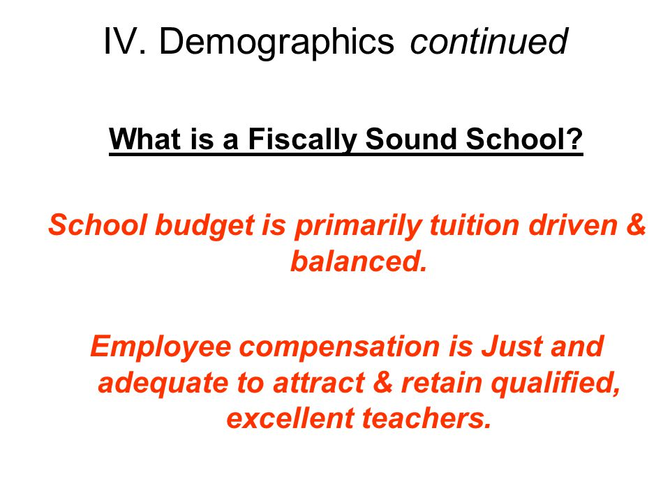 IV. Demographics continued What is a Fiscally Sound School.