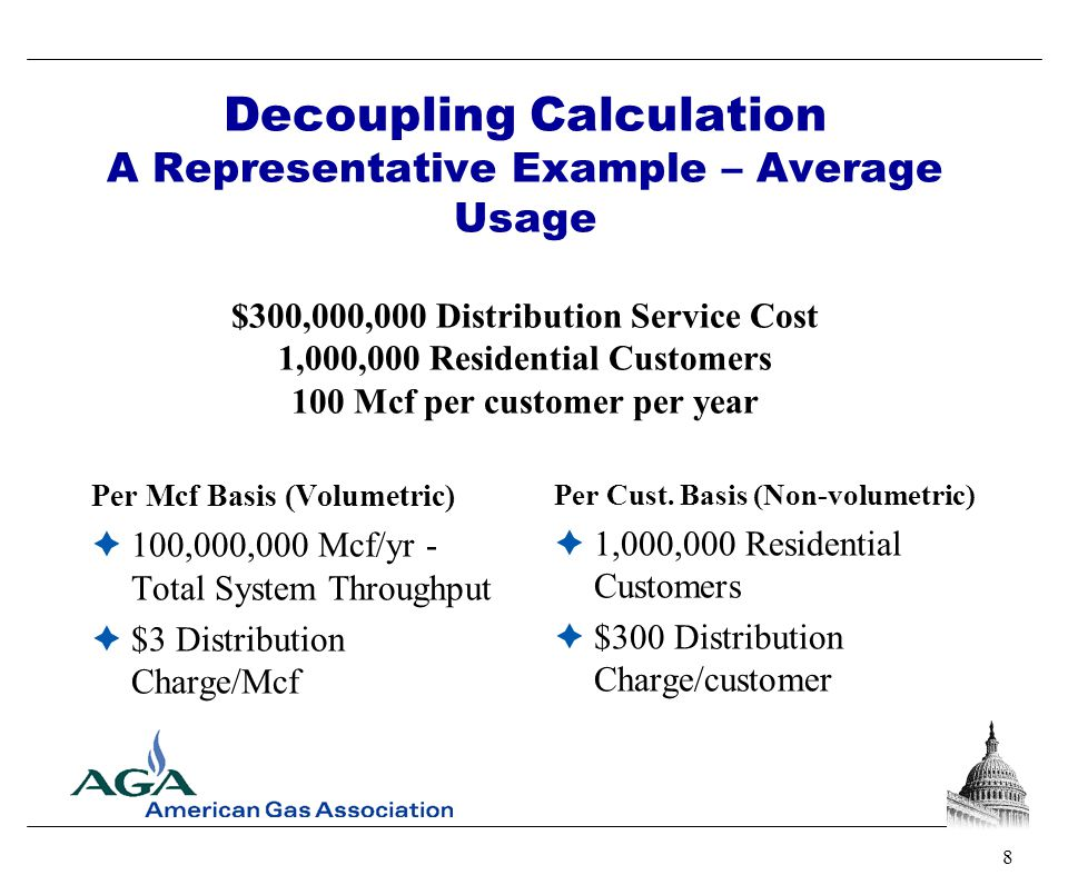 8 Decoupling Calculation A Representative Example – Average Usage $300,000,000 Distribution Service Cost 1,000,000 Residential Customers 100 Mcf per c