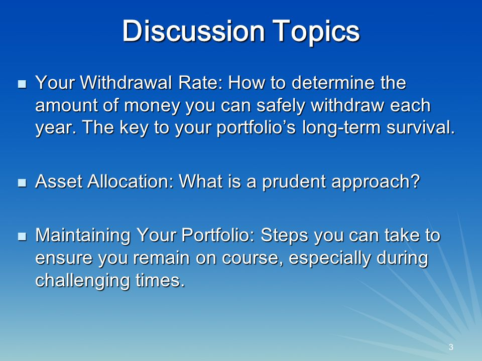14 Shortfall Risk (Runout Percentage) at Various Withdrawal Rates Source: Guidelines for Withdrawal Rates and Portfolio Safety During Retirement, by John J.