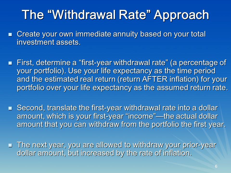 7 7 An Example $1 million portfolio $1 million portfolio 4% first-year withdrawal rate 4% first-year withdrawal rate 3% inflation 3% inflation First-year withdrawal amount: $40,000 (4% of $1 million) First-year withdrawal amount: $40,000 (4% of $1 million) Second-yr.