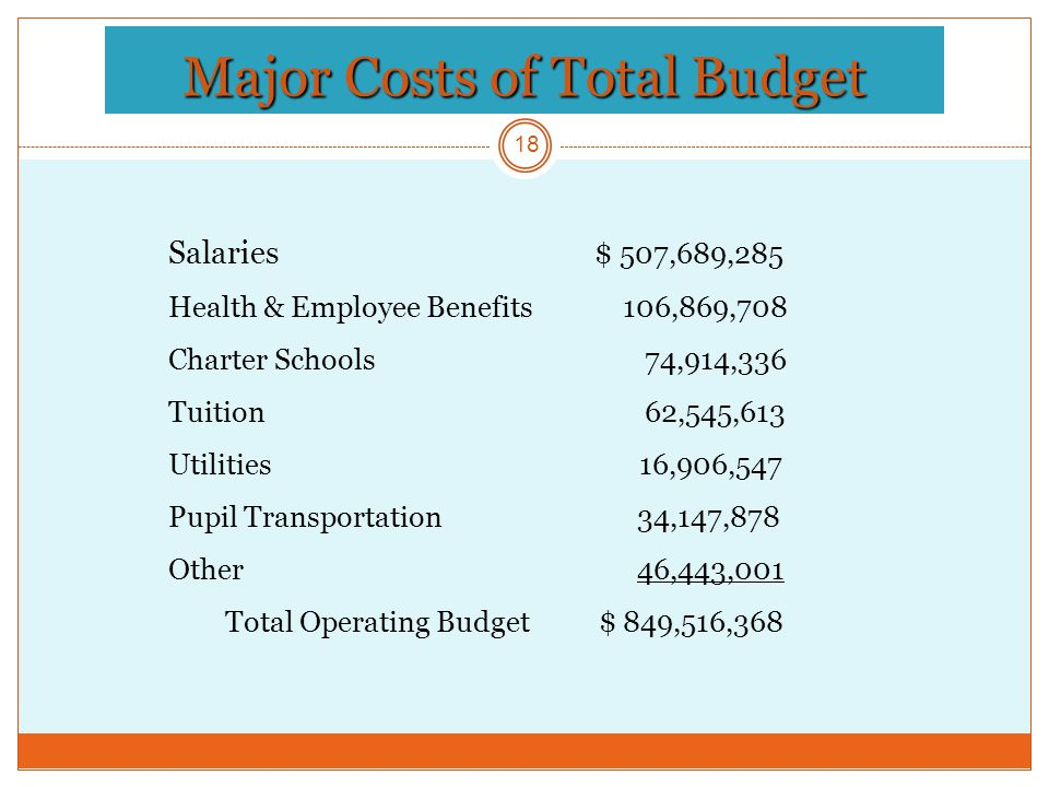 Major Costs of Total Budget 18 Salaries $ 507,689,285 Health & Employee Benefits 106,869,708 Charter Schools 74,914,336 Tuition 62,545,613 Utilities 16,906,547 Pupil Transportation 34,147,878 Other 46,443,001 Total Operating Budget $ 849,516,368