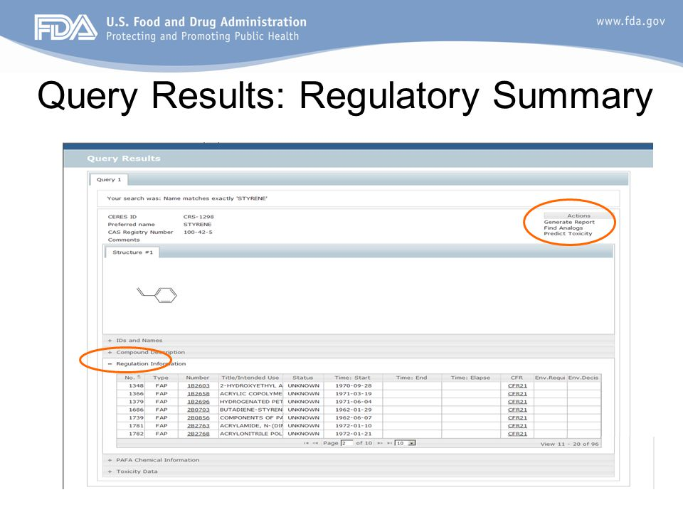 Query Results: Regulatory Summary