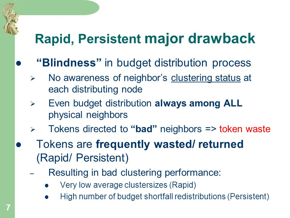 7 Rapid, Persistent major drawback Blindness in budget distribution process  No awareness of neighbor's clustering status at each distributing node  Even budget distribution always among ALL physical neighbors  Tokens directed to bad neighbors => token waste Tokens are frequently wasted/ returned (Rapid/ Persistent) – Resulting in bad clustering performance: Very low average clustersizes (Rapid) High number of budget shortfall redistributions (Persistent)