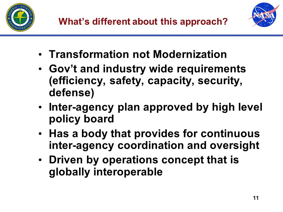 11 What's different about this approach? Transformation not Modernization Gov't and industry wide requirements (efficiency, safety, capacity, security