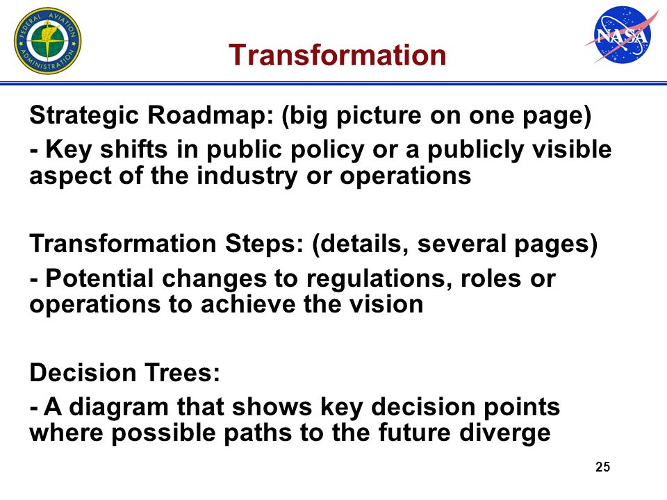 25 Transformation Strategic Roadmap: (big picture on one page) - Key shifts in public policy or a publicly visible aspect of the industry or operations Transformation Steps: (details, several pages) - Potential changes to regulations, roles or operations to achieve the vision Decision Trees: - A diagram that shows key decision points where possible paths to the future diverge