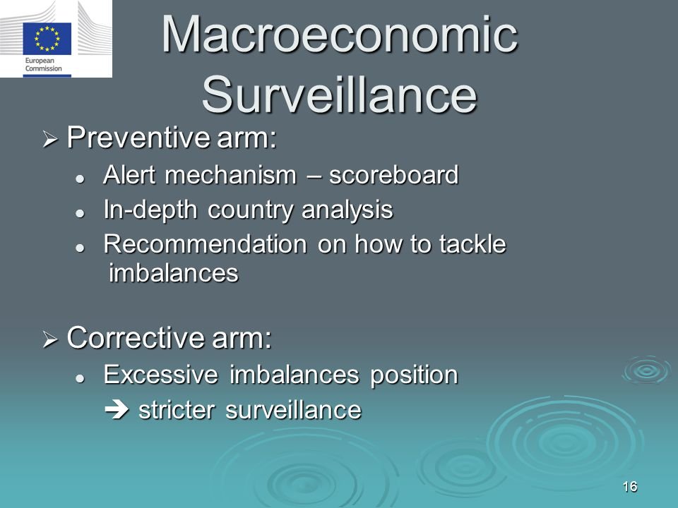 16 Macroeconomic Surveillance  Preventive arm: Alert mechanism – scoreboard Alert mechanism – scoreboard In-depth country analysis In-depth country a