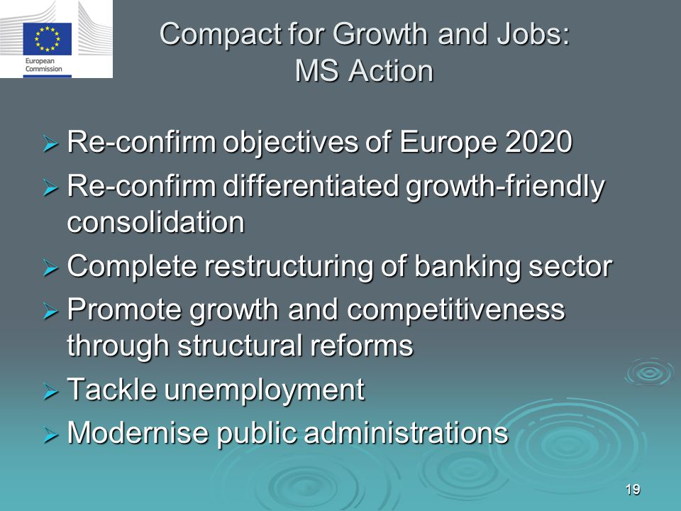 19 Compact for Growth and Jobs: MS Action  Re-confirm objectives of Europe 2020  Re-confirm differentiated growth-friendly consolidation  Complete