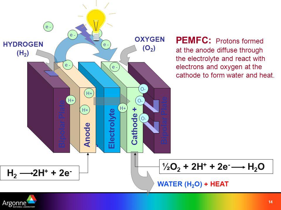 14 Bipolar Plate Cathode + Anode - Electrolyte H+ HYDROGEN (H 2 ) OXYGEN (O 2 ) Bipolar Plate O- e - H+ O- e - WATER (H 2 O) + HEAT H 2 2H + + 2e - ½O