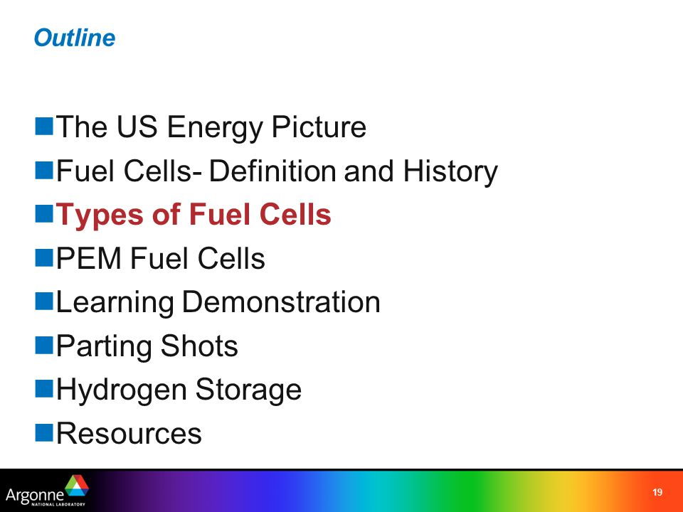 19 Outline The US Energy Picture Fuel Cells- Definition and History Types of Fuel Cells PEM Fuel Cells Learning Demonstration Parting Shots Hydrogen S