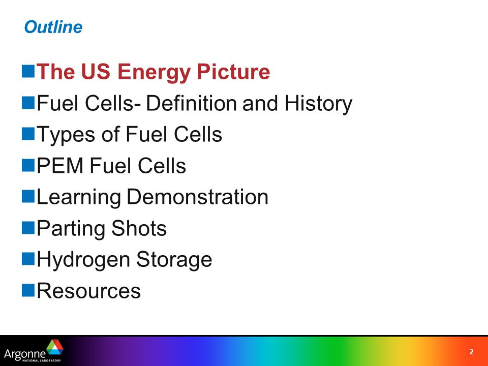 2 Outline The US Energy Picture Fuel Cells- Definition and History Types of Fuel Cells PEM Fuel Cells Learning Demonstration Parting Shots Hydrogen St
