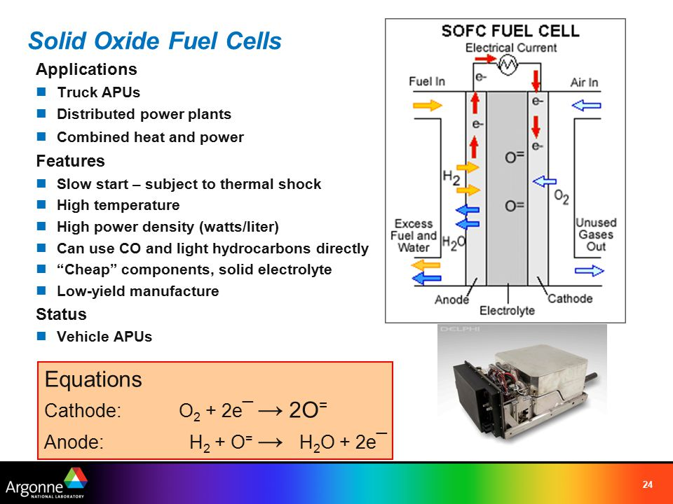 24 Equations Cathode:O 2 + 2e¯ → 2O = Anode: H 2 + O = → H 2 O + 2e¯ Solid Oxide Fuel Cells Applications Truck APUs Distributed power plants Combined
