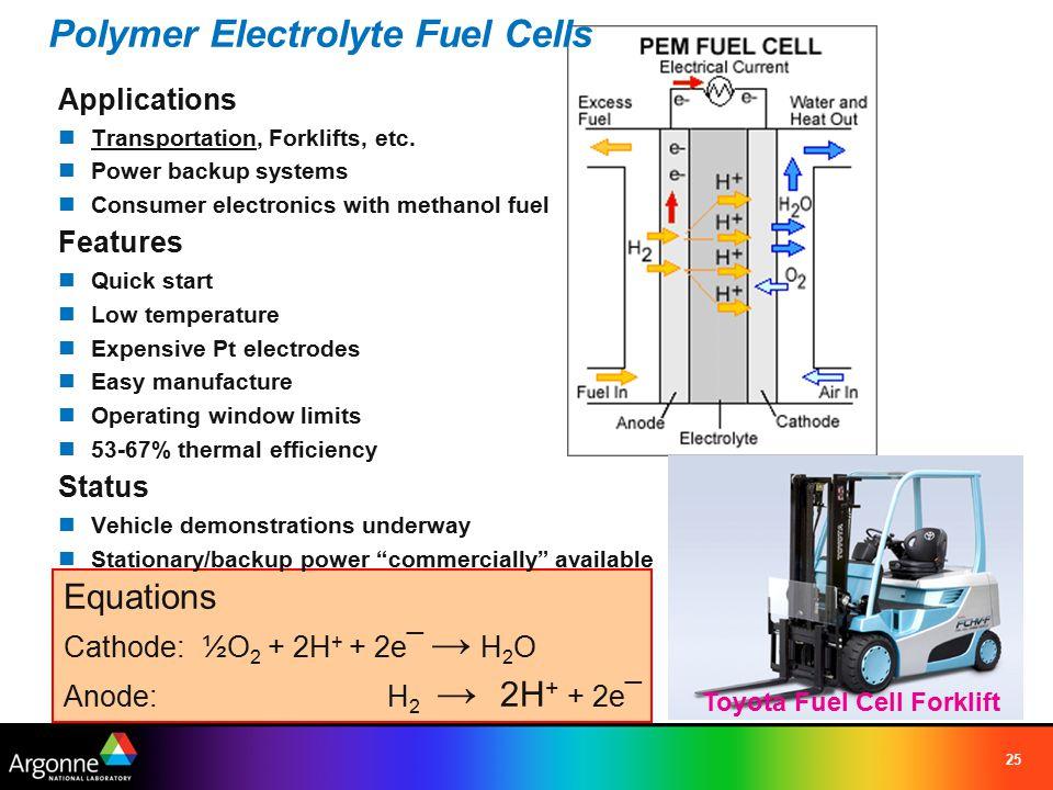 25 Equations Cathode: ½O 2 + 2H + + 2e¯ → H 2 O Anode: H 2 → 2H + + 2e¯ Polymer Electrolyte Fuel Cells Applications Transportation, Forklifts, etc. Po