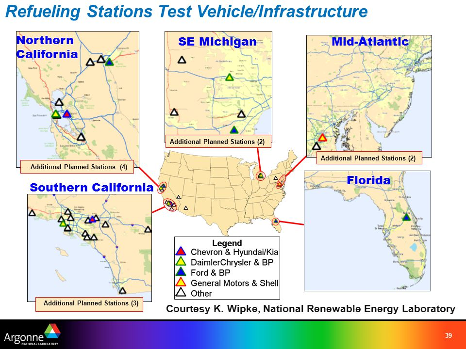 39 Refueling Stations Test Vehicle/Infrastructure 09-22-06 Northern California Southern California Florida Additional Planned Stations (3) Additional