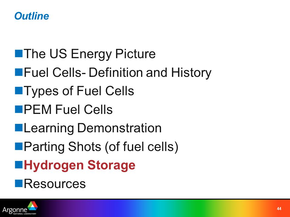 44 Outline The US Energy Picture Fuel Cells- Definition and History Types of Fuel Cells PEM Fuel Cells Learning Demonstration Parting Shots (of fuel c