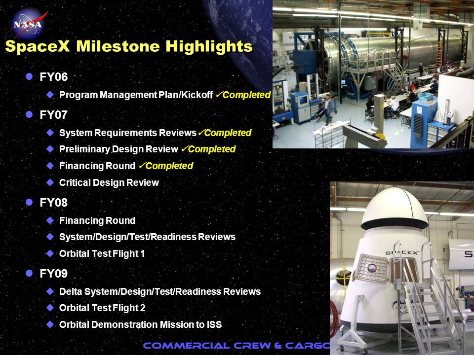 12 SpaceX Milestone Highlights lFY06 uProgram Management Plan/Kickoff  Completed lFY07 uSystem Requirements Reviews  Completed uPreliminary Design R