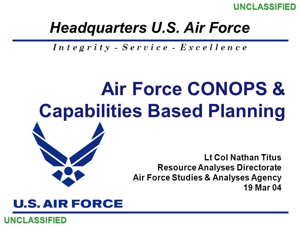 I n t e g r i t y - S e r v i c e - E x c e l l e n c e Headquarters U.S. Air Force Air Force CONOPS & Capabilities Based Planning Lt Col Nathan Titus