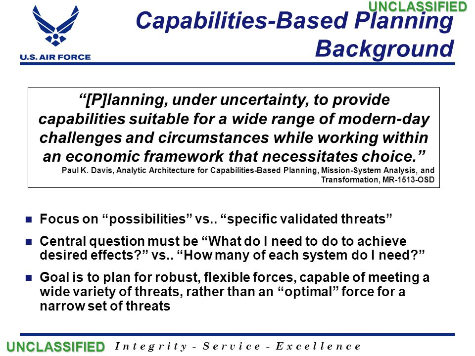 """I n t e g r i t y - S e r v i c e - E x c e l l e n c e Capabilities-Based Planning Background Focus on """"possibilities"""" vs.. """"specific validated threa"""