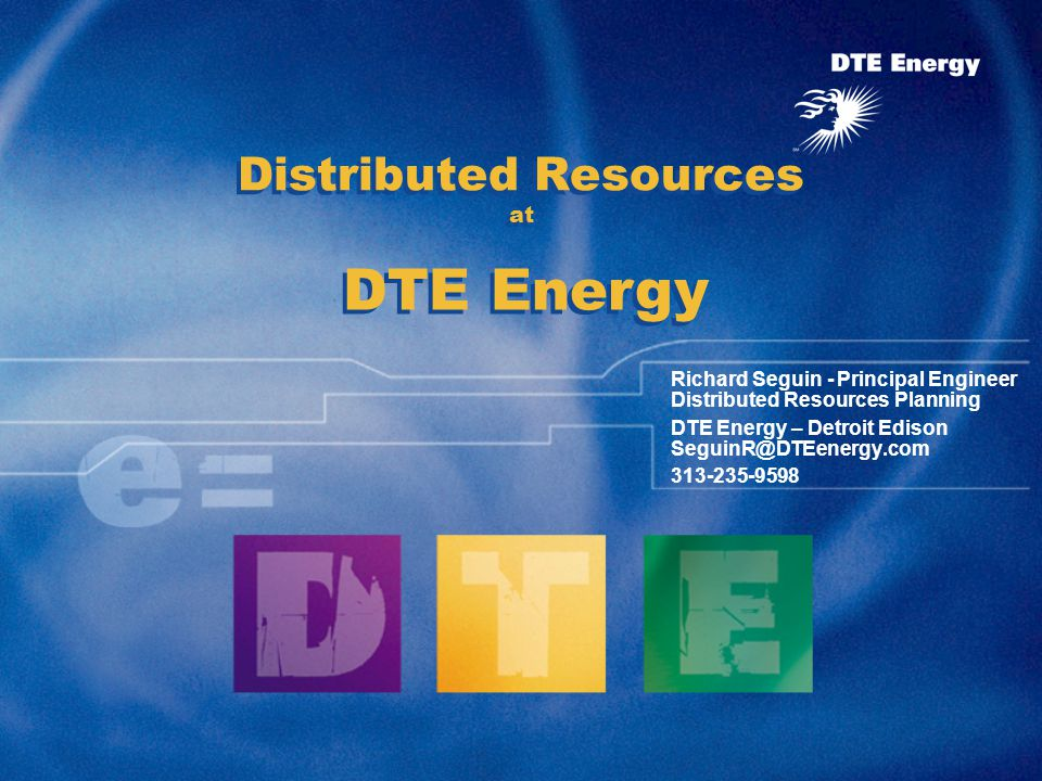 2 Agenda DTE Energy Background Integration into Planning & Operating Process Discussion Break Detroit Edison DG Experience –Distribution Solutions Siting Load Following –Premium Power Discussion Break Other fancy work –DoE DER Aggregation, Communication, Control and Sale Discussion Break