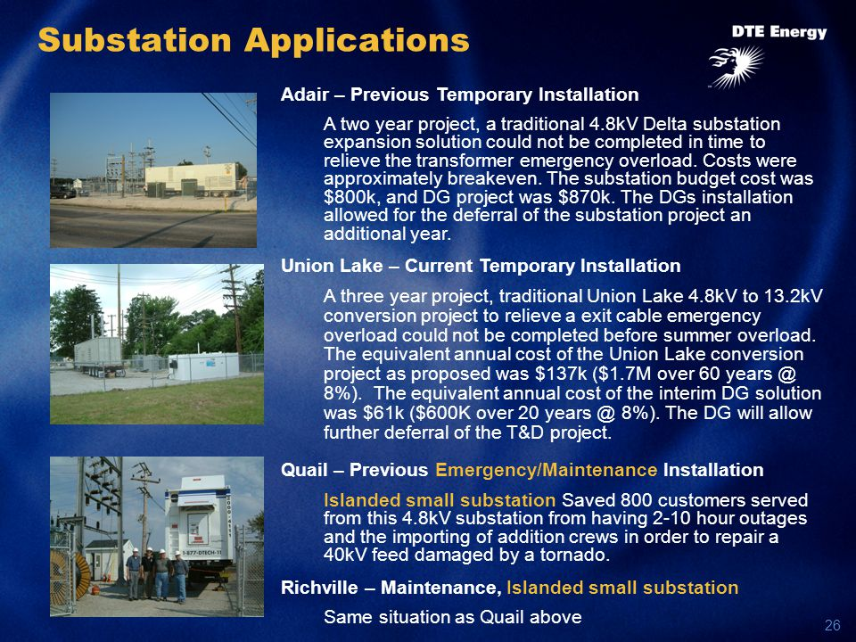 26 Substation Applications Adair – Previous Temporary Installation A two year project, a traditional 4.8kV Delta substation expansion solution could not be completed in time to relieve the transformer emergency overload.