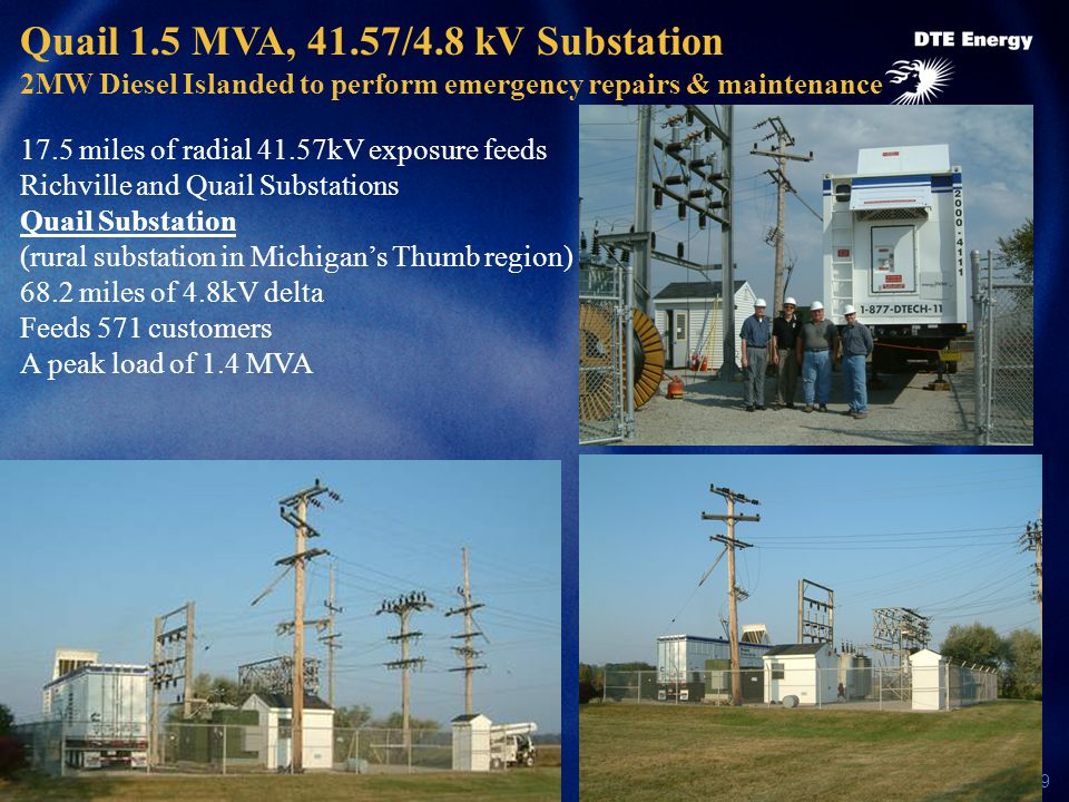 29 Quail 1.5 MVA, 41.57/4.8 kV Substation 2MW Diesel Islanded to perform emergency repairs & maintenance 17.5 miles of radial 41.57kV exposure feeds Richville and Quail Substations Quail Substation (rural substation in Michigan's Thumb region) 68.2 miles of 4.8kV delta Feeds 571 customers A peak load of 1.4 MVA