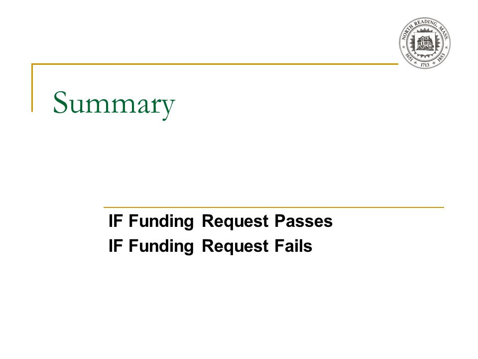 Summary IF Funding Request Passes IF Funding Request Fails