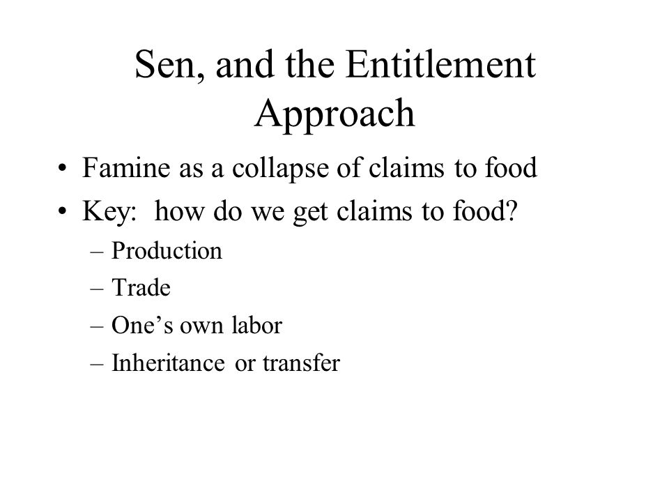 Thinking About Famine Malthus: difficulties.–Food increasing faster than population: no famine.