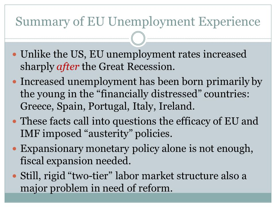 Summary of EU Unemployment Experience Unlike the US, EU unemployment rates increased sharply after the Great Recession.