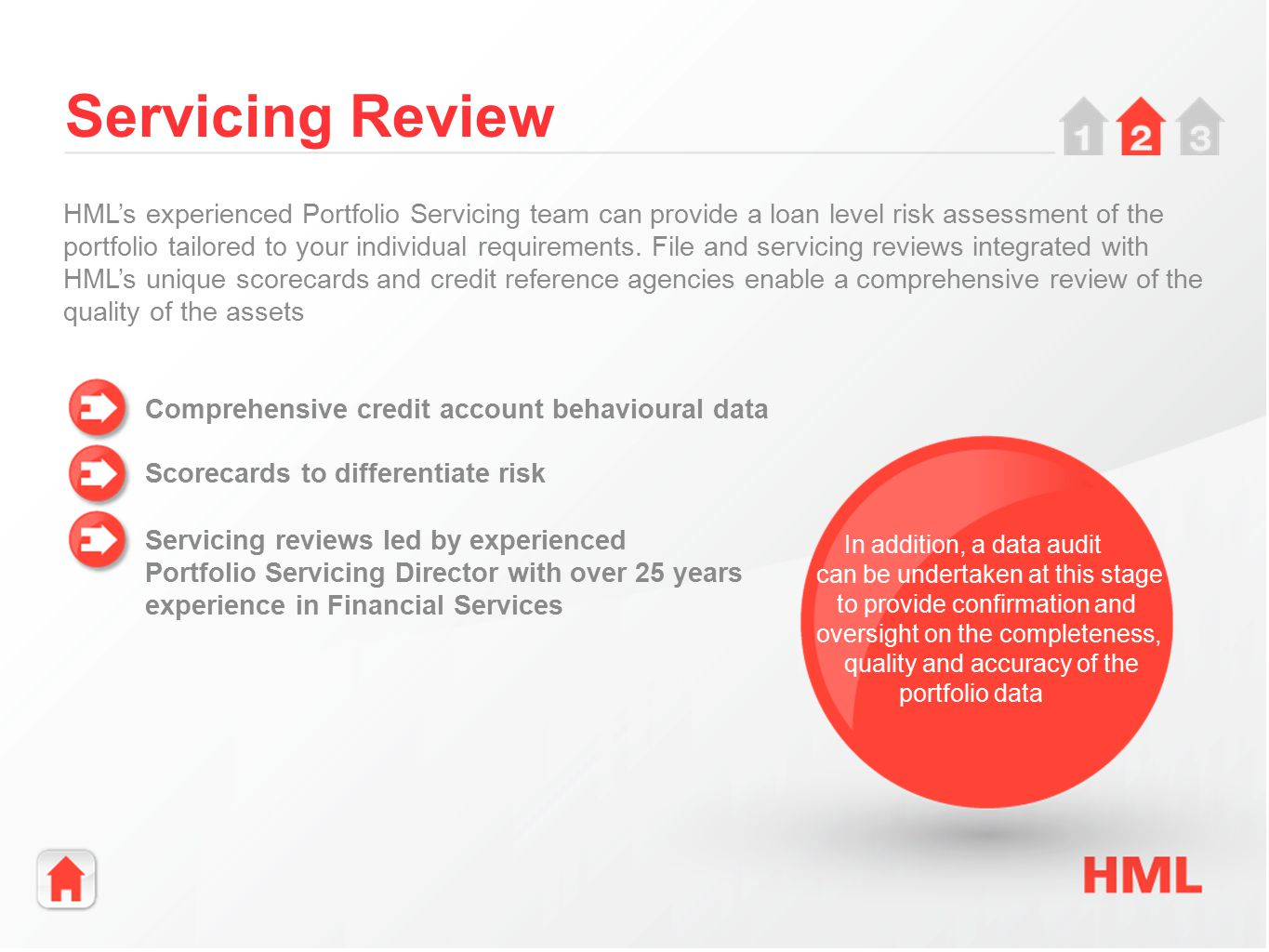 Servicing Review Comprehensive credit account behavioural data Scorecards to differentiate risk Servicing reviews led by experienced Portfolio Servicing Director with over 25 years experience in Financial Services HML's experienced Portfolio Servicing team can provide a loan level risk assessment of the portfolio tailored to your individual requirements.