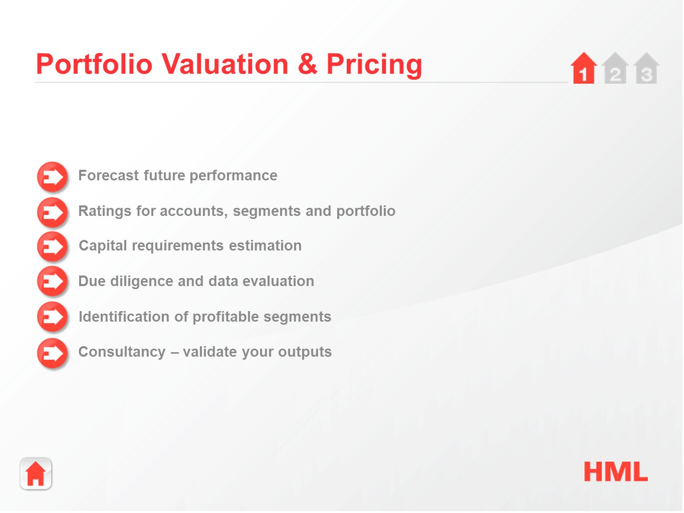 Portfolio Valuation & Pricing Forecast future performance Ratings for accounts, segments and portfolio Capital requirements estimation Due diligence and data evaluation Identification of profitable segments Consultancy – validate your outputs