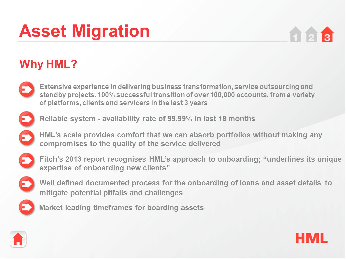 Asset Migration Extensive experience in delivering business transformation, service outsourcing and standby projects.