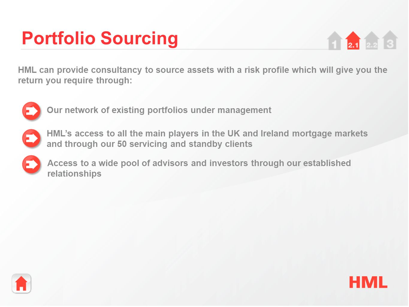 Our network of existing portfolios under management Portfolio Sourcing HML's access to all the main players in the UK and Ireland mortgage markets and through our 50 servicing and standby clients HML can provide consultancy to source assets with a risk profile which will give you the return you require through: Access to a wide pool of advisors and investors through our established relationships