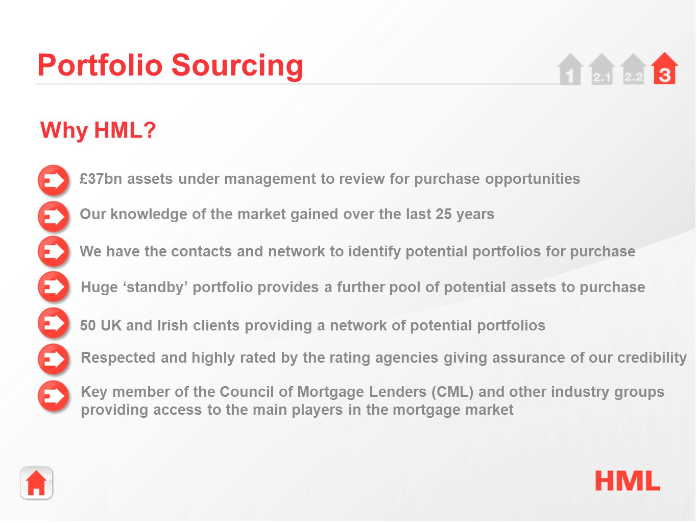 £37bn assets under management to review for purchase opportunities Portfolio Sourcing Our knowledge of the market gained over the last 25 years We have the contacts and network to identify potential portfolios for purchase Why HML.