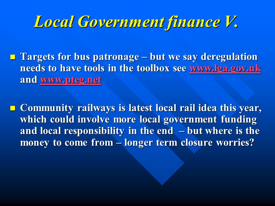 Local Government finance V.