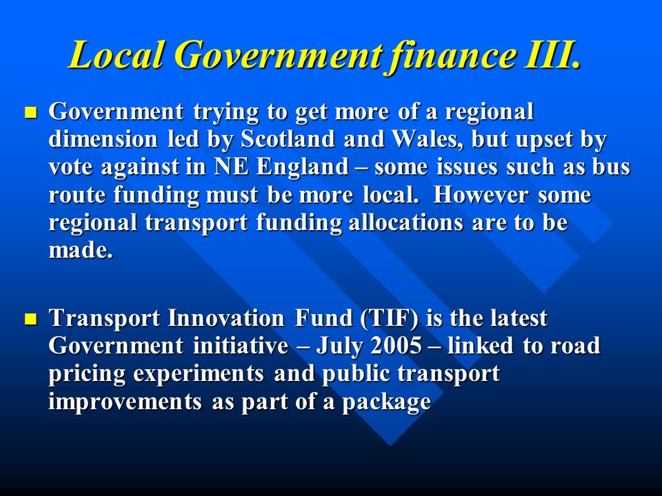 Local Government finance III.