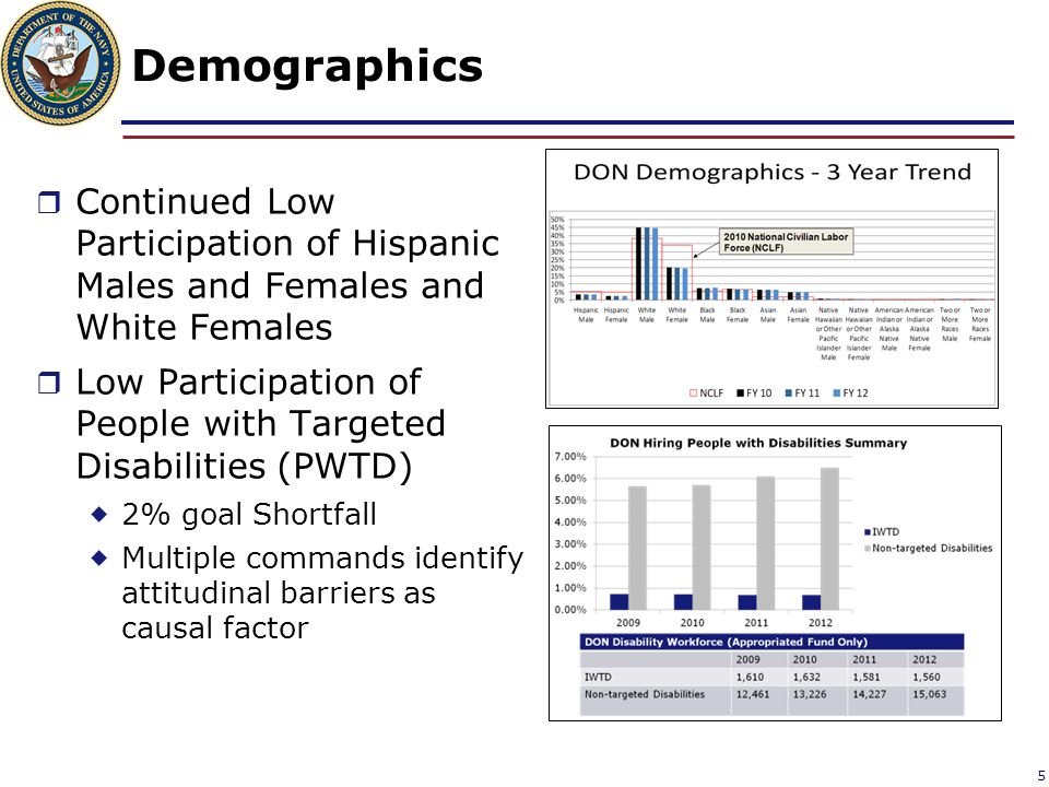 Demographics  Continued Low Participation of Hispanic Males and Females and White Females  Low Participation of People with Targeted Disabilities (P