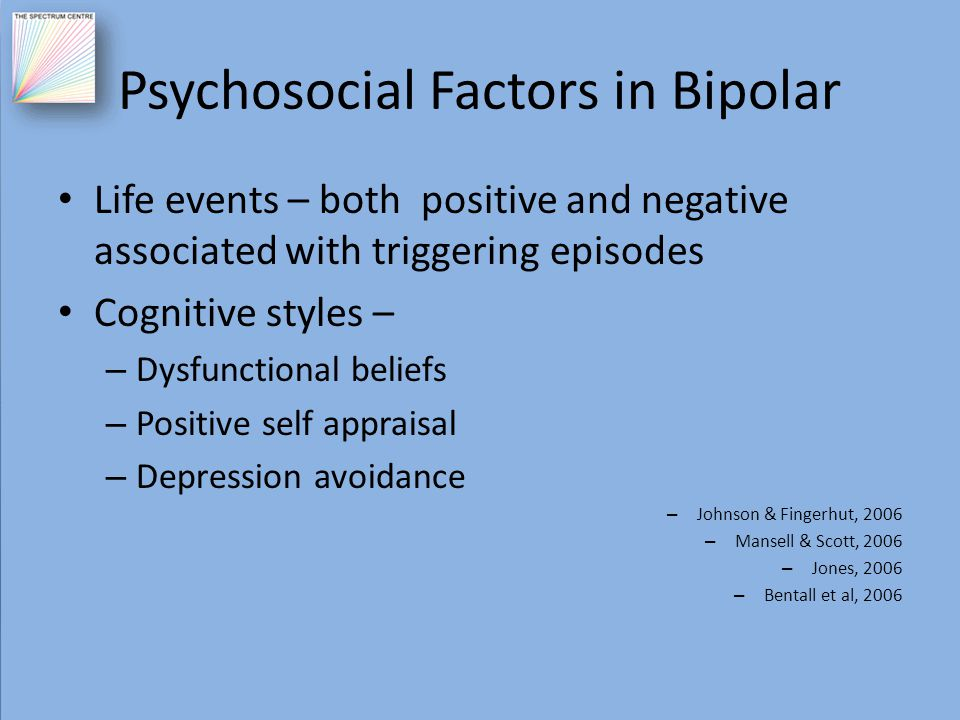 Psychosocial Factors in Bipolar Life events – both positive and negative associated with triggering episodes Cognitive styles – – Dysfunctional belief