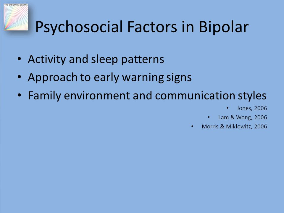 Psychosocial Factors in Bipolar Activity and sleep patterns Approach to early warning signs Family environment and communication styles Jones, 2006 La
