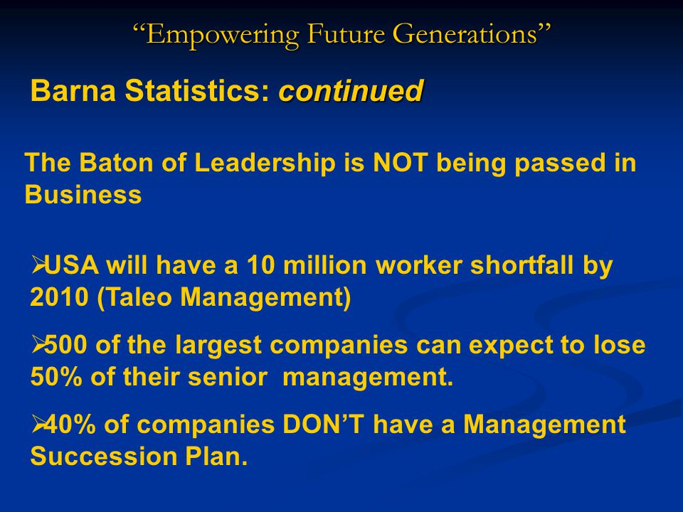 Empowering Future Generations continued Barna Statistics: continued The Baton of Leadership is NOT being passed in Business  USA will have a 10 million worker shortfall by 2010 (Taleo Management)  500 of the largest companies can expect to lose 50% of their senior management.