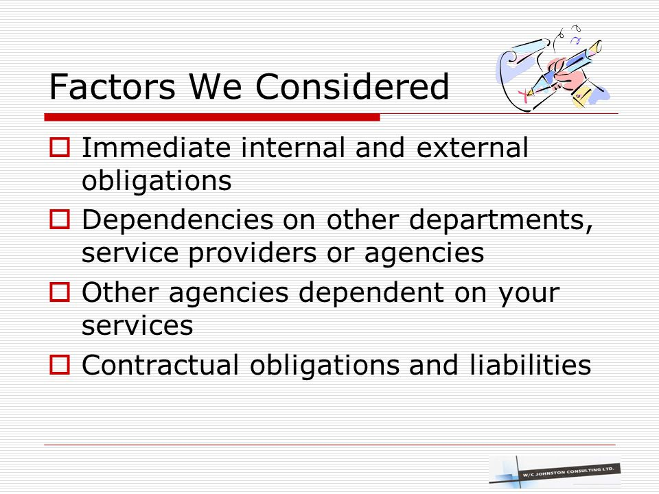 Factors We Considered  Immediate internal and external obligations  Dependencies on other departments, service providers or agencies  Other agencie
