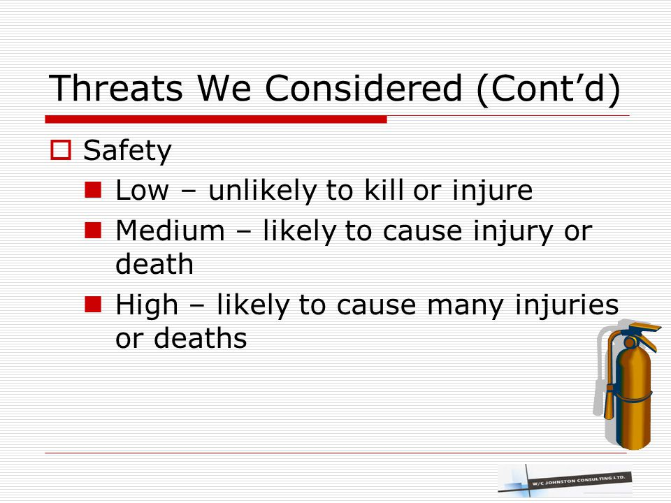 Threats We Considered (Cont'd)  Safety Low – unlikely to kill or injure Medium – likely to cause injury or death High – likely to cause many injuries